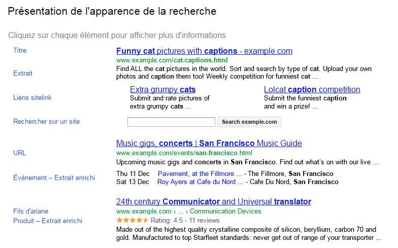apparence de recherche Google Webmaster Tools