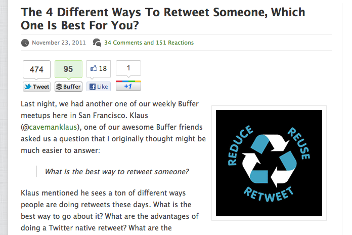 Exemple de Digg Digg avec boutons de partage en haut de l'article