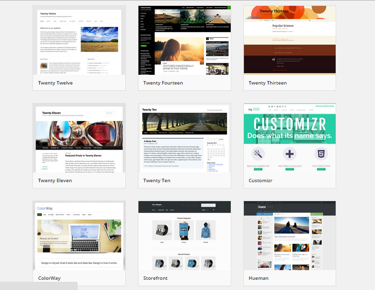 exemples themes wordpress