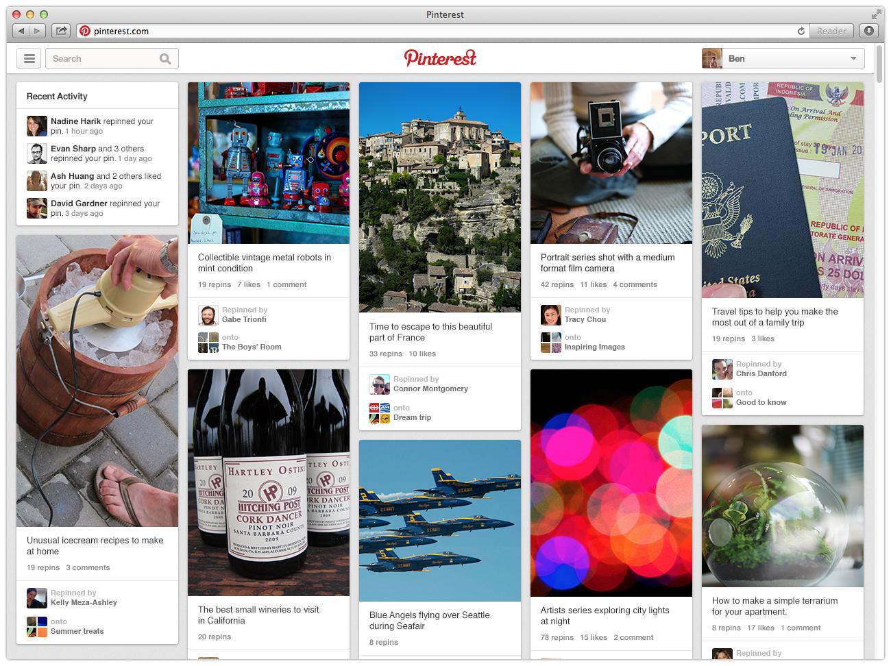 Page d'accueil Pinterest