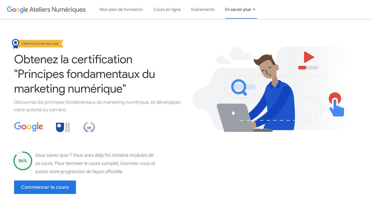 Google Ateliers numériques principes fondamentaux webmarketing