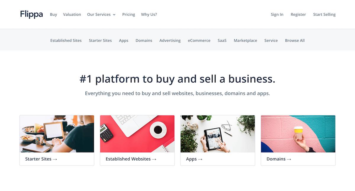 Page d'accueil de Flippa