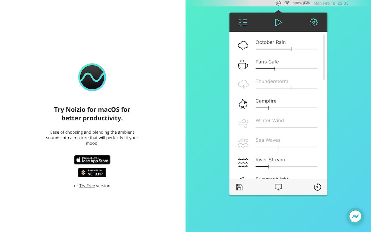 Noizio application smartphone et Mac