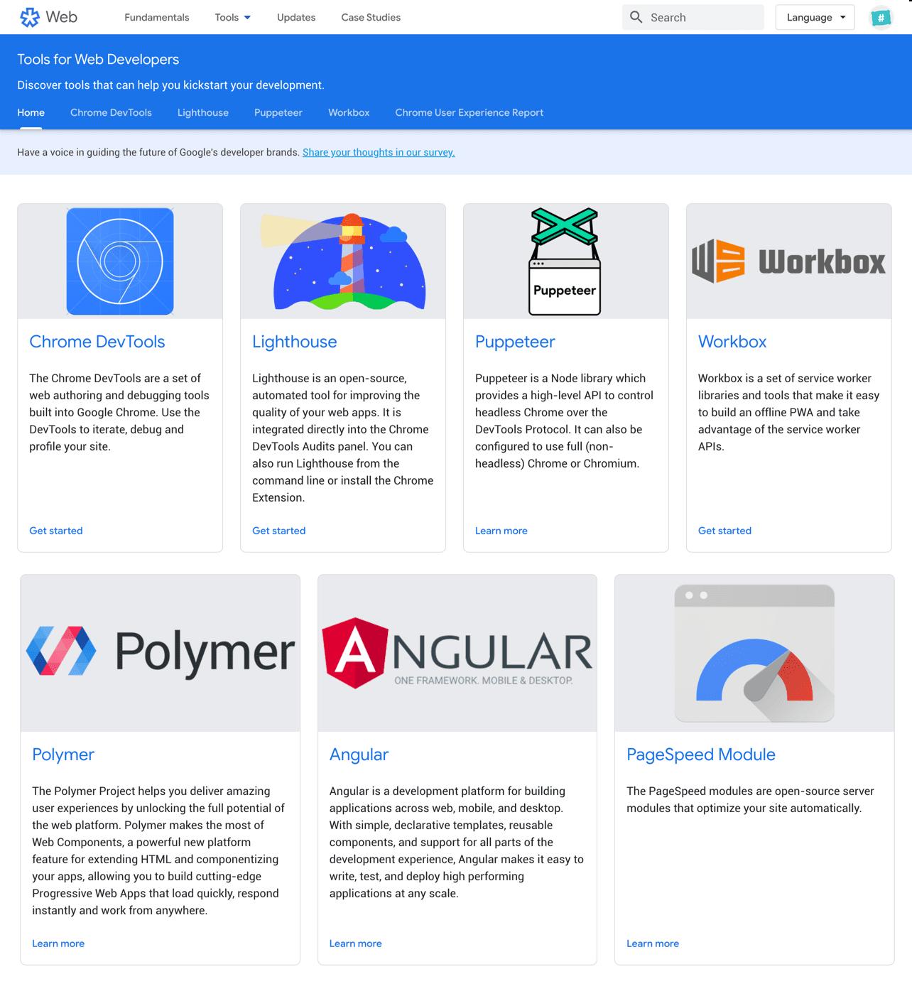 outils Google pour developpeurs