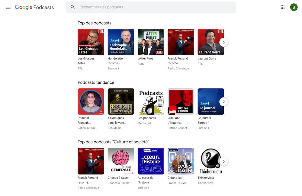 google podcasts à écouter sur les thématiques Arts, comédie, économie, technologie